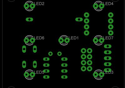 Primer dado electrónico layout superior (LEDs)