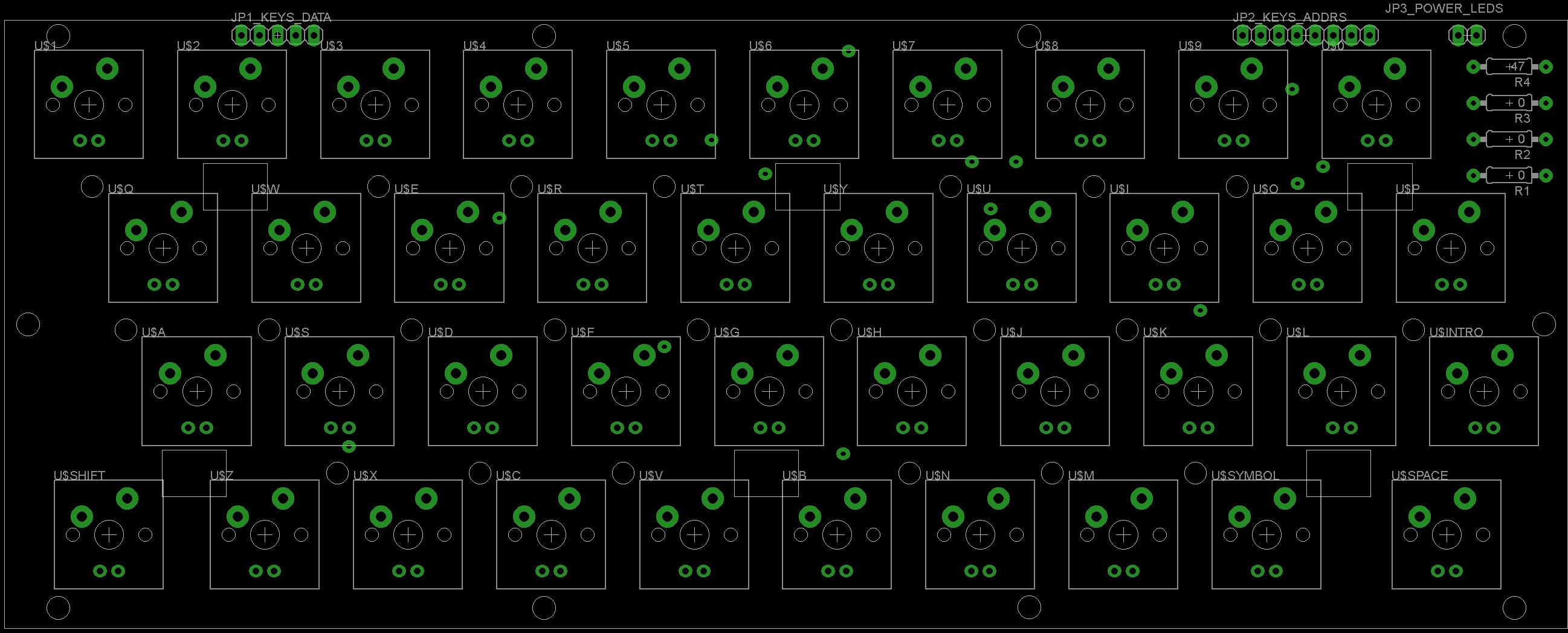 Layout componentes, no hay componentes en la cara inferior porque no asentaría correctamente en un Spectrum original.