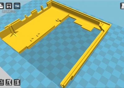 Vista de la pìeza 3D a imprimir de la tapa del ZX spectrum parte izquierda.