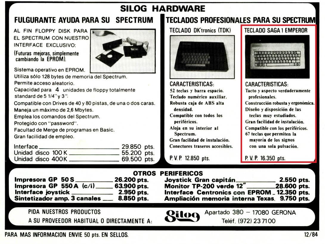 Teclado SAGA 01 anunico Micro Hobby nº7 pág. 35. 16350 ptas sería 98€ en el año 1985.