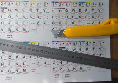 Vista previa de la serigrafía antes de cortar. Impresa en papel adhesivo normal. Recomendable mandar imprimir y troquelar en imprenta, además nos pueden añadir una protección transparente por encima.